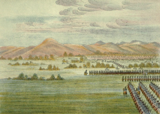 First Dragoon Expedition - The United States Dragoon Regiment arrive at Comanche Village, 1834.  Painting by George Catlin who accompanied the expedition.