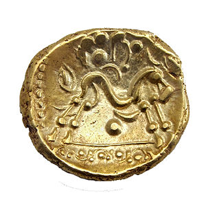 Ambiani - Gold stater from the Ambiani with Celticised horse