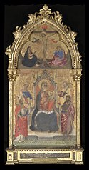 Virgin and Child Enthroned with Saints John the Baptist, Nicholas, Dorothy and Reparata; with Crucifixion