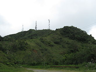 Cerro de Punta - View from Ruta Panorámica, with Cellular network towers