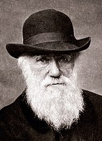 A black and white picture of Charles Darwin