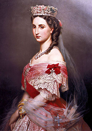 Mexican Imperial Orders - Empress Charlotte wearing the sash and insignia of the Order of Saint Charles