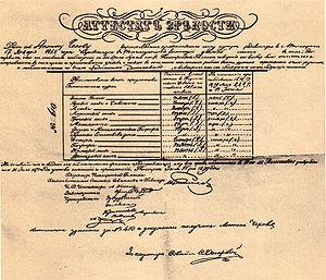 Chekhov Gymnasium - The school-leaving certificate of Anton Chekhov.