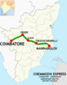 Chemmozhi Express (Coimbatore - Mannargudi) Route map.png