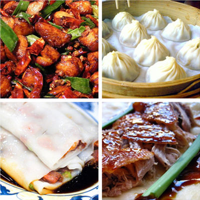 Foods from different regional cuisines: laziji from Sichuan cuisine; xiaolongbao from Jiangsu cuisine; rice noodle roll from Cantonese cuisine; and Peking duck from Shandong cuisine Chinese foods from different regional cuisines.jpg