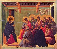 Jesus giving the Farewell Discourse to his 11 remaining disciples, from the Maestà of Duccio, 1308–1311.  Jesus sits facing the 11 in the Upper Room.  One row of disciples appears seated on stools, obscured by the second row, in front of them, who are seated on the ground.  Both Jesus and the upper row of the disciples have halos around their heads.