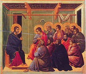 Farewell Discourse - Jesus saying farewell to his eleven remaining disciples, from the Maesta by Duccio, 1308–1311.