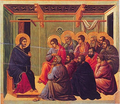 Jesus' Farewell Discourse to his eleven remaining disciples after the Last Supper, from the Maesta by Duccio. Christ Taking Leave of the Apostles.jpg