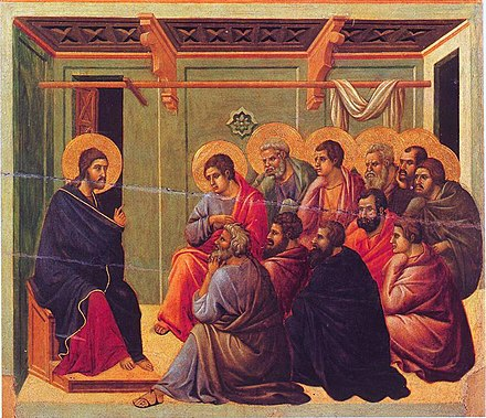 Jesus giving the Farewell Discourse to his 11 remaining disciples, from the Maesta of Duccio, 1308-1311. Christ Taking Leave of the Apostles.jpg