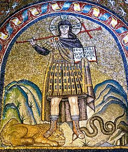 Christ as a warrior, 6th century mosaic