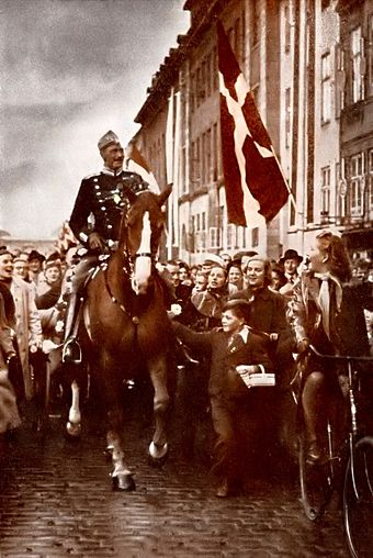 During the German occupation, King Christian X, seen here on the occasion of his birthday in 1940, was a powerful symbol of national sovereignty. Note that he is not accompanied by a guard. Christian X.jpg