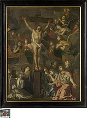 Christ on the cross surrounded by angels