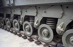 Churchill tank - Close-up of road wheels and tracks of Churchill Mk. VII