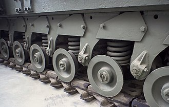 Churchill tank - Close-up of road wheels and tracks of Churchill Mk. VII