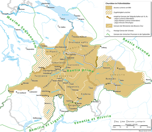Raetia Curiensis - map of Raetia Curiensis during the 9th to 11th centuries