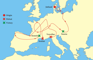 Jutland - Military stratagem in the Maneuver against the Romans by Cimbri and Teutons circa 100 B.C.