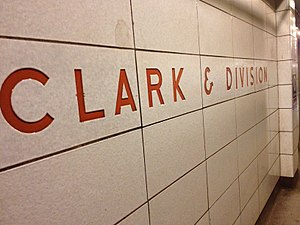 Clark/Division station - Image: Clark and Division Red Line Stop