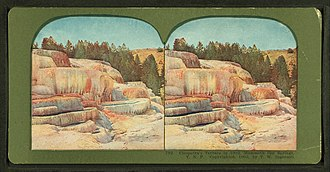 Mammoth Hot Springs - Stereo card view of Cleopatra's Terrace by T.W. Ingersoll