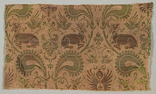 Silk with Dogs and Birds amid Vines