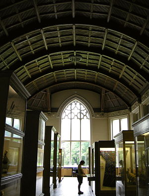 Cliffe Castle Museum - Victorian wooden barrel-vaulted and coffered neo-Gothic ceiling.