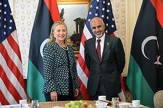 Mohammed Magariaf - Magariaf, alongside former U.S. Secretary of State Hillary Clinton.