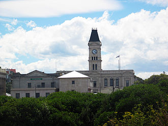 Janet Frame - Oamaru: Clock tower on the old Post Office, described in Frame's Owls Do Cry and her autobiography, The Envoy from Mirror City
