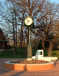 The clocktower at the edge of the South 40.