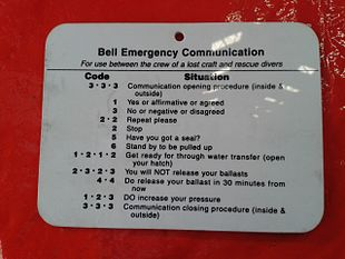 Emergency tap code signboard on a closed diving bell