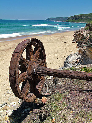 Glenrock Lagoon - Remnants of a time gone by. Rusty coal carriage wheels located on Burwood Beach