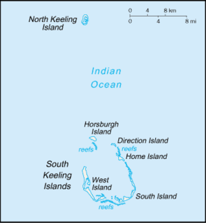 North Keeling - Map of the Cocos (Keeling) Islands. North Keeling is the uppermost of the islands in the group