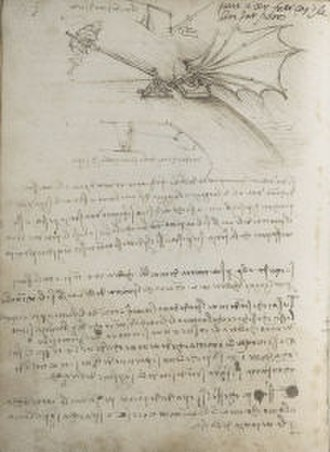 Codex on the Flight of Birds - Ms B Fol 88v: Design for a flying machine or catapul, taken from the codex.