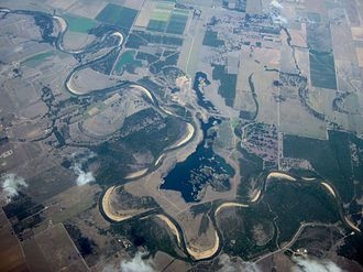 Colorado River (Texas) - Oblique air photo of the Colorado River where it crosses from Colorado County into Wharton County near Nada.