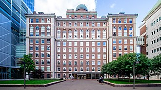 Pupin Hall, the physics building, showing the rooftop observatory Columbia University - Department of Physics (48170362276).jpg