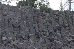 Columnar basalt at Sheepeater Cliff in Yellowstone-closeup