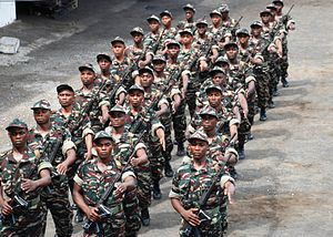 Military of the Comoros - Comoran Defense Force soldiers march in formation in Moroni