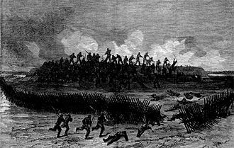 148th Pennsylvania Infantry Regiment - October 27, 1864—Armed with Spencer repeating rifles, men of Company K, 148th Pennsylvania Volunteers, advance in skirmish line and capture a fort garrisoned by the 46th Virginia Infantry during the Siege of Petersburg, Virginia.