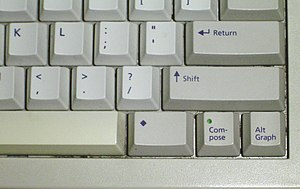 Compose key - Image: Compose key on Sun Type 5c keyboard