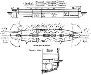 Comus-class corvette - Diagrams of the Comus class