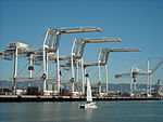 Container Cranes towering over a sailboat. (3465061898).jpg