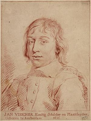 Jan de Visscher - Engraved portrait of Jan de Visscher after a self-portrait, by Cornelis van Noorde in 1775