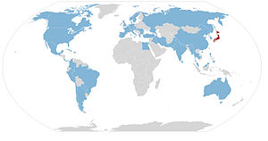 Daisaku Ikeda - Countries visited by SGI President Ikeda (in blue) outside of Japan (in red)