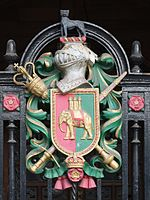 Coventry Council House coat of arms on porch gate.jpg