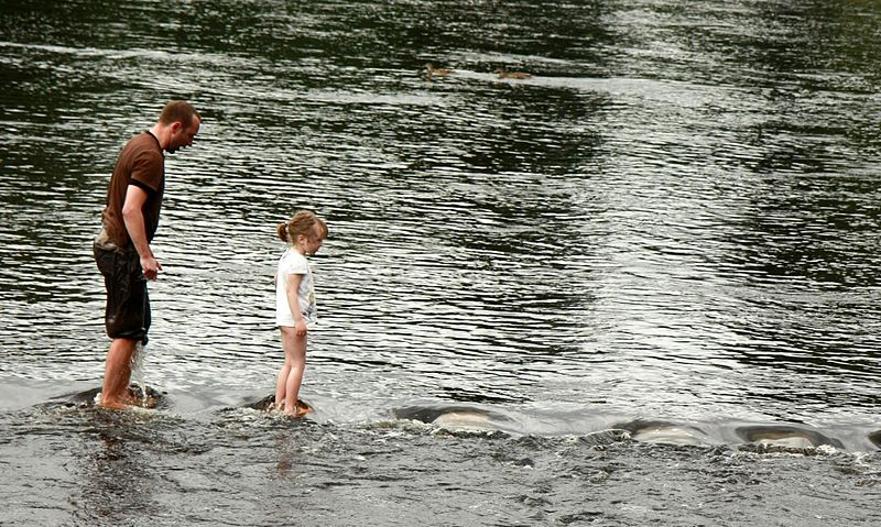 File:Crossing Stepping Stones in Bolton Abbey - England.jpg
