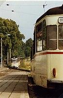 Crossing of Gotha trams, GT4-65 nr 210 at Tabarz Aug 1989 (3367880643).jpg