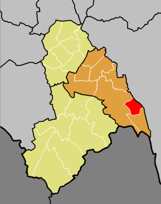 Fieldway (ward) - The ward of Fieldway (red) shown within the Croydon Central constituency (orange) within the London Borough of Croydon (yellow)