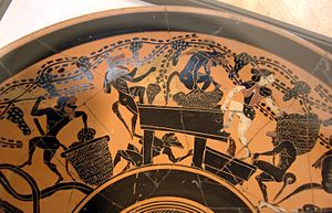 Vintage - Vintage by Satyrs and Maenads. Ancient Greek Attic black-figure cup, end of 6th century BC. Cabinet des médailles de la Bibliothèque nationale de France, Paris, France