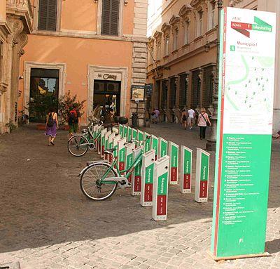 Bikesharing point in Rome's center