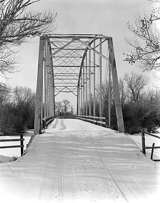 Carbon County, Wyoming - Pick Bridge over the North Platte River, near Saratoga. Listed on the National Register of Historic Places.