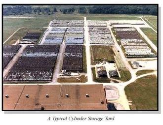 Uranium hexafluoride - Image: DUF6 storage yard far