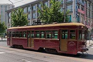 Trams in China - Dalian historical tram. Its use is still preserved to date in limited area in the city.